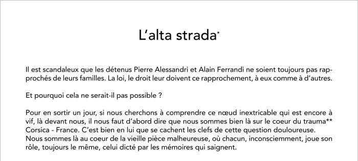 L'alta strada par JF Bernardini - Au sujet du non regroupement de Pierre Alessandri et Alain Ferrandi